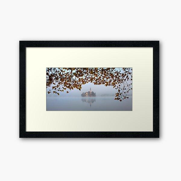 Misty Lake Bled Framed Art Print