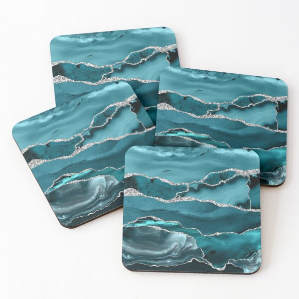 Trend Turquoise Marble Textures  Coasters (Set of 4)