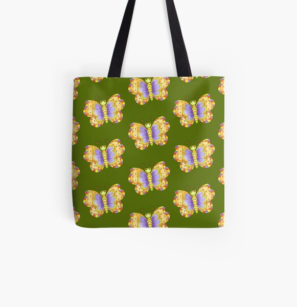 Butterfly Illustration All Over Print Tote Bag