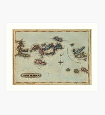 Vintage Map of The Virgin Islands (1823) Art Print