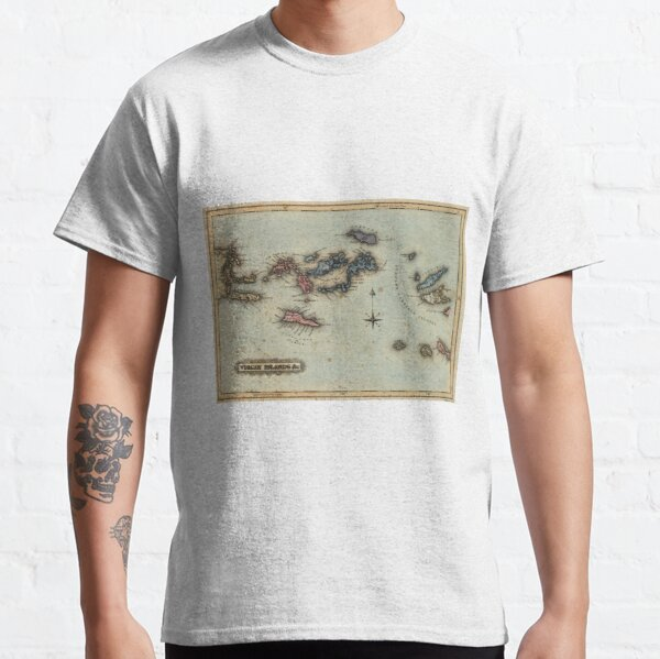 Vintage Map of The Virgin Islands (1823) Classic T-Shirt