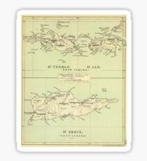 Vintage Map of The Virgin Islands (1853) Sticker