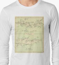 Vintage Map of The Virgin Islands (1853) Long Sleeve T-Shirt
