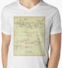 Vintage Map of The Virgin Islands (1853) Men's V-Neck T-Shirt