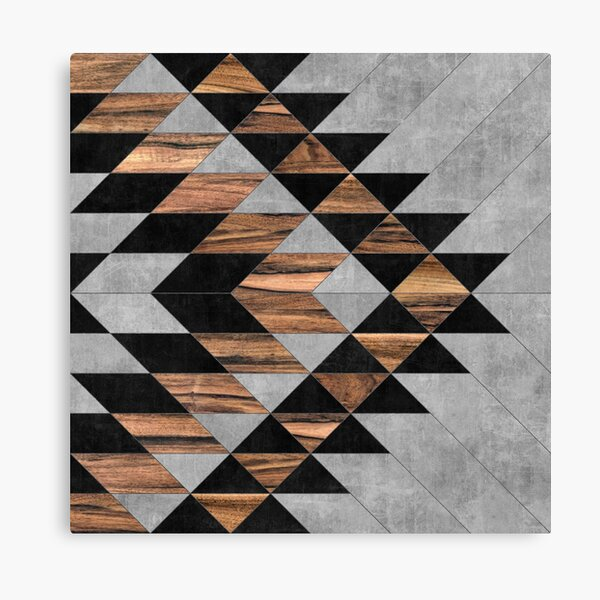 Urban Tribal Pattern No.10 - Aztec - Concrete and Wood Canvas Print