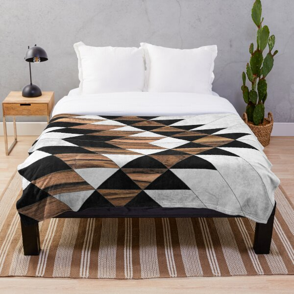 Urban Tribal Pattern No.9 - Aztec - Concrete and Wood Throw Blanket