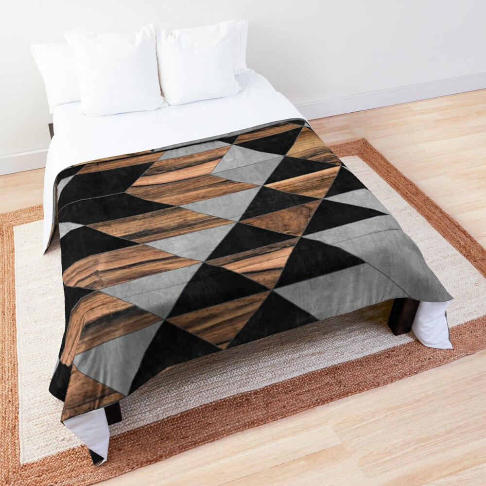 Urban Tribal Pattern No.10 - Aztec - Concrete and Wood Comforter