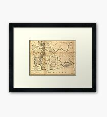 Vintage Map of Washington State (1866) Framed Print