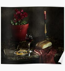 Red Cyclamen with Bread and Candle Poster