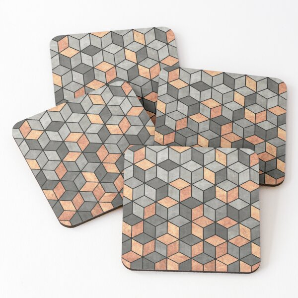 Concrete and Copper Cubes Coasters (Set of 4)