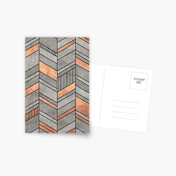 Abstract Chevron Pattern - Concrete and Copper Postcard