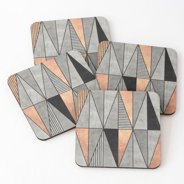 Concrete and Copper Triangles Coasters (Set of 4)