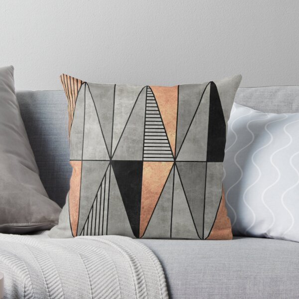 Concrete and Copper Triangles Throw Pillow