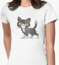 Rough sketch of a cat Women's Fitted T-Shirt