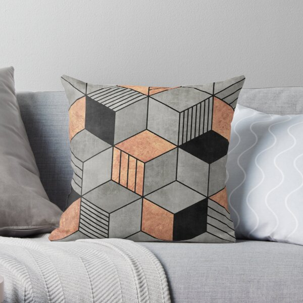 Concrete and Copper Cubes 2 Throw Pillow