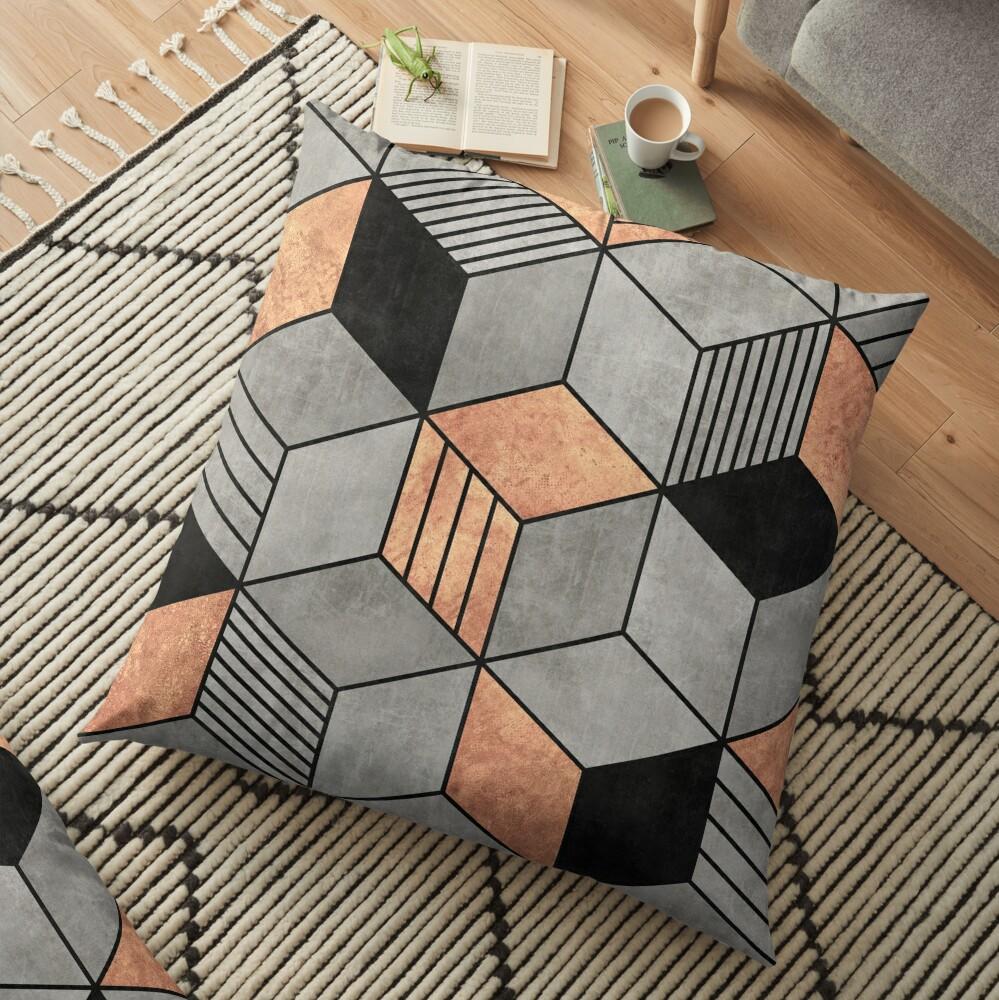 Concrete and Copper Cubes 2 Floor Pillow
