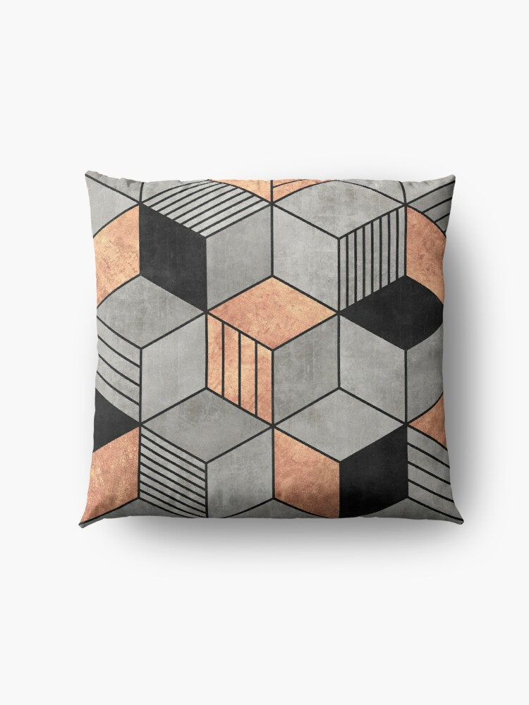 Alternate view of Concrete and Copper Cubes 2 Floor Pillow
