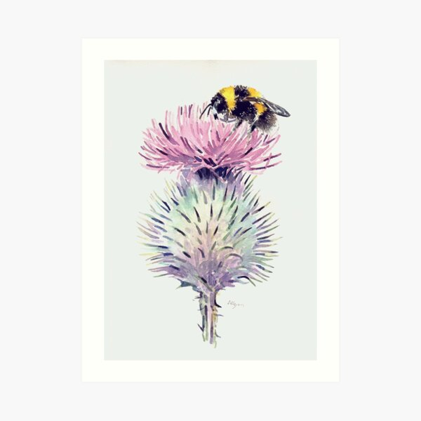 Bumblebee on a Thistle Art Print
