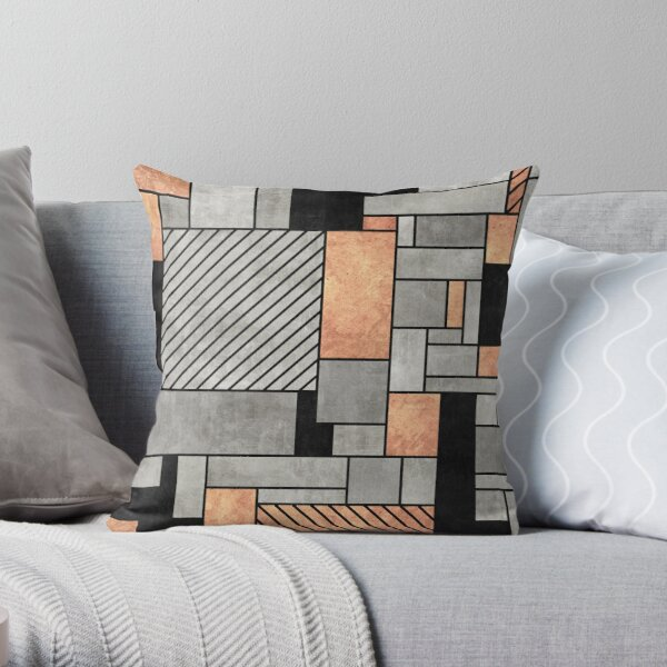 Random Pattern - Concrete and Copper Throw Pillow