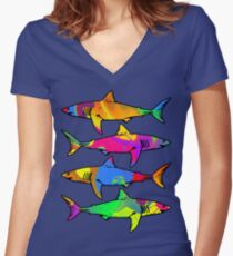 Colorful Sharks Women's Fitted V-Neck T-Shirt