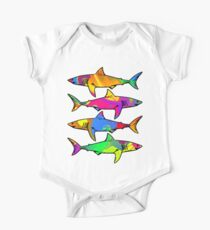 Colorful Sharks One Piece - Short Sleeve