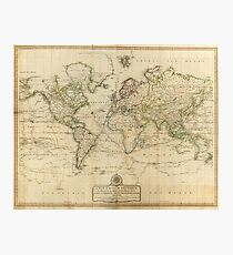 Vintage Map of The World (1800) Photographic Print