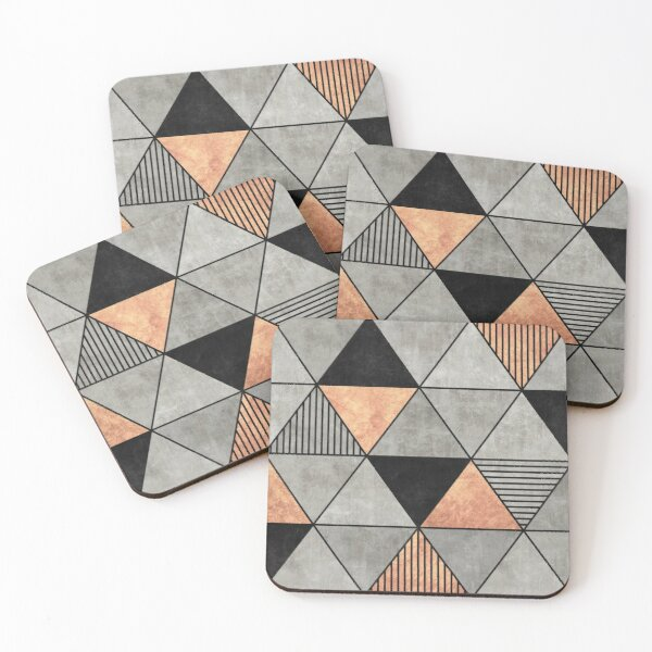 Concrete and Copper Triangles 2 Coasters (Set of 4)