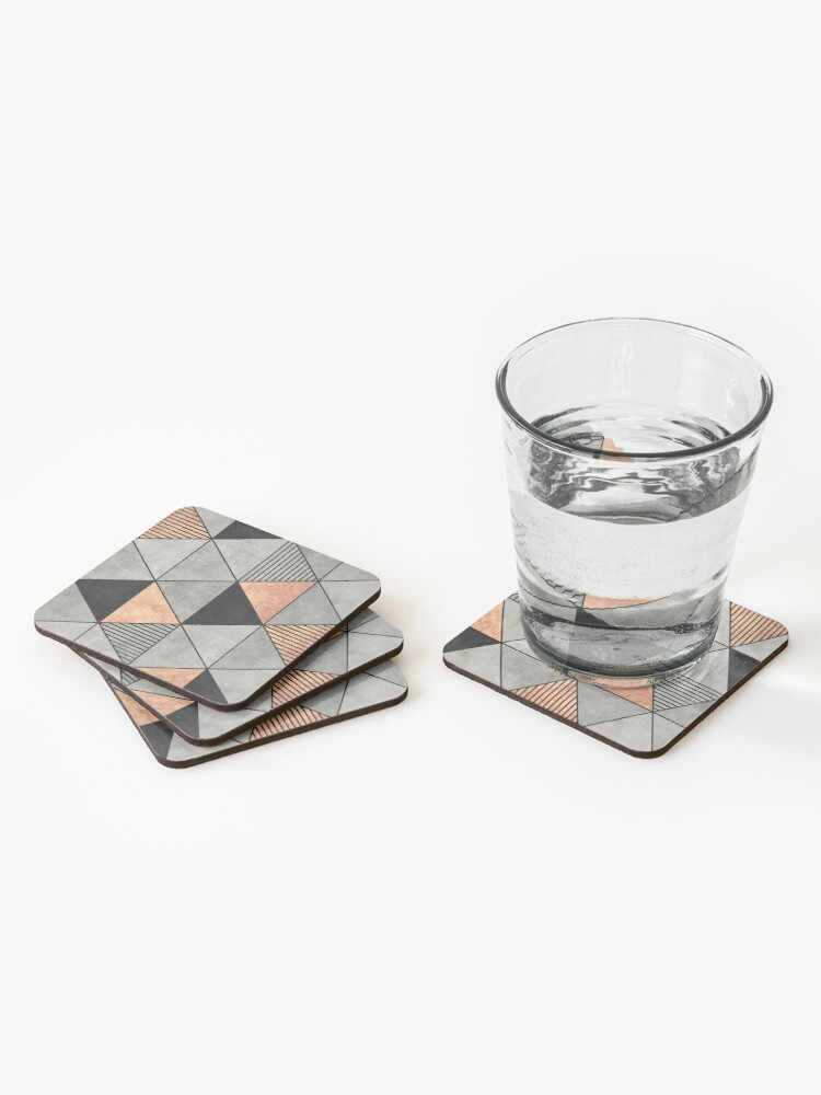 Alternate view of Concrete and Copper Triangles 2 Coasters (Set of 4)