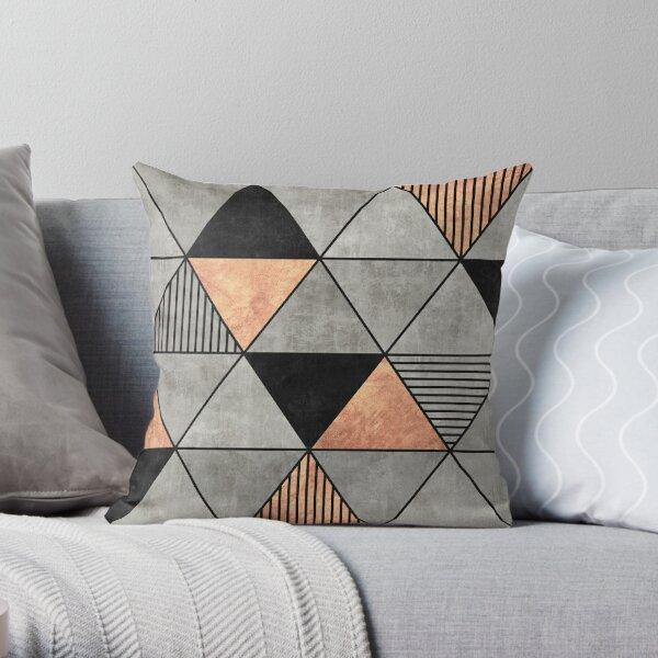 Triangles en béton et en cuivre 2 Coussin