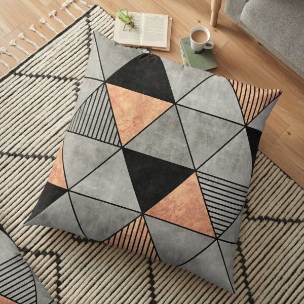 Concrete and Copper Triangles 2 Floor Pillow