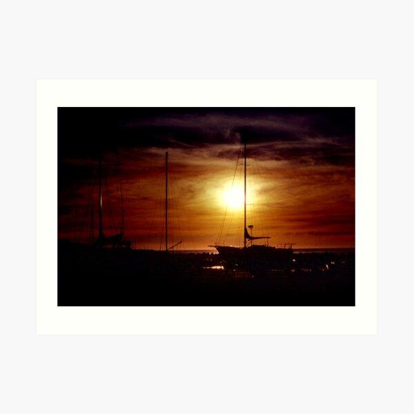 Sunset At The Boatyard Art Print