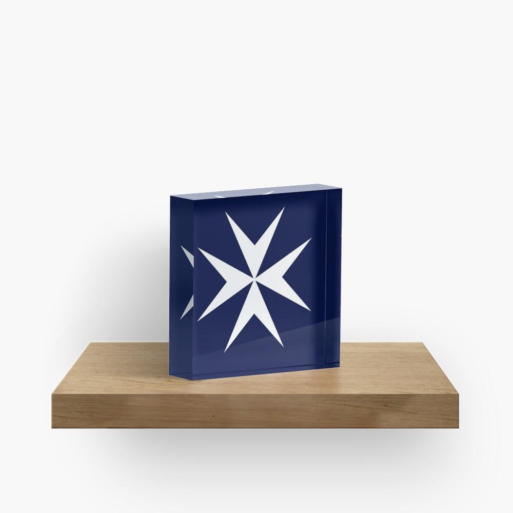 MALTA. Maltese, Amalfi Cross, Maltese cross, Knights Hospitaller, WHITE on NAVY BLUE. Acrylic Block