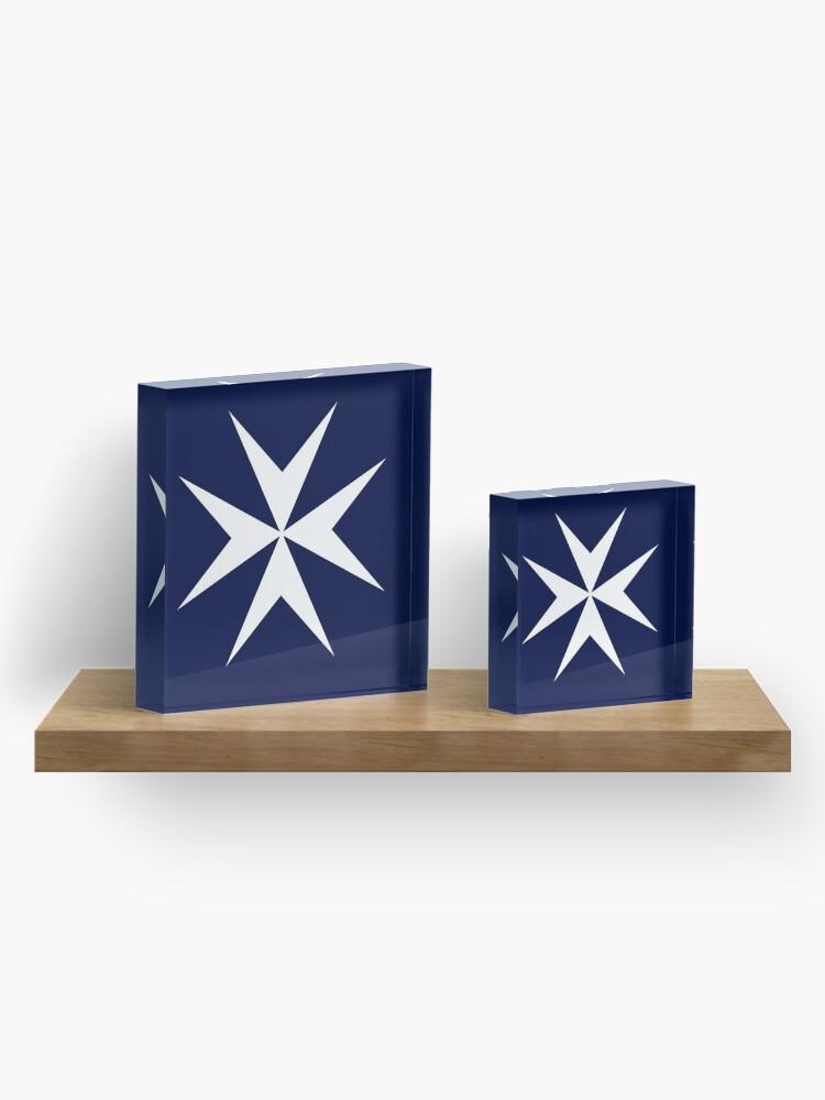 Alternate view of MALTA. Maltese, Amalfi Cross, Maltese cross, Knights Hospitaller, WHITE on NAVY BLUE. Acrylic Block