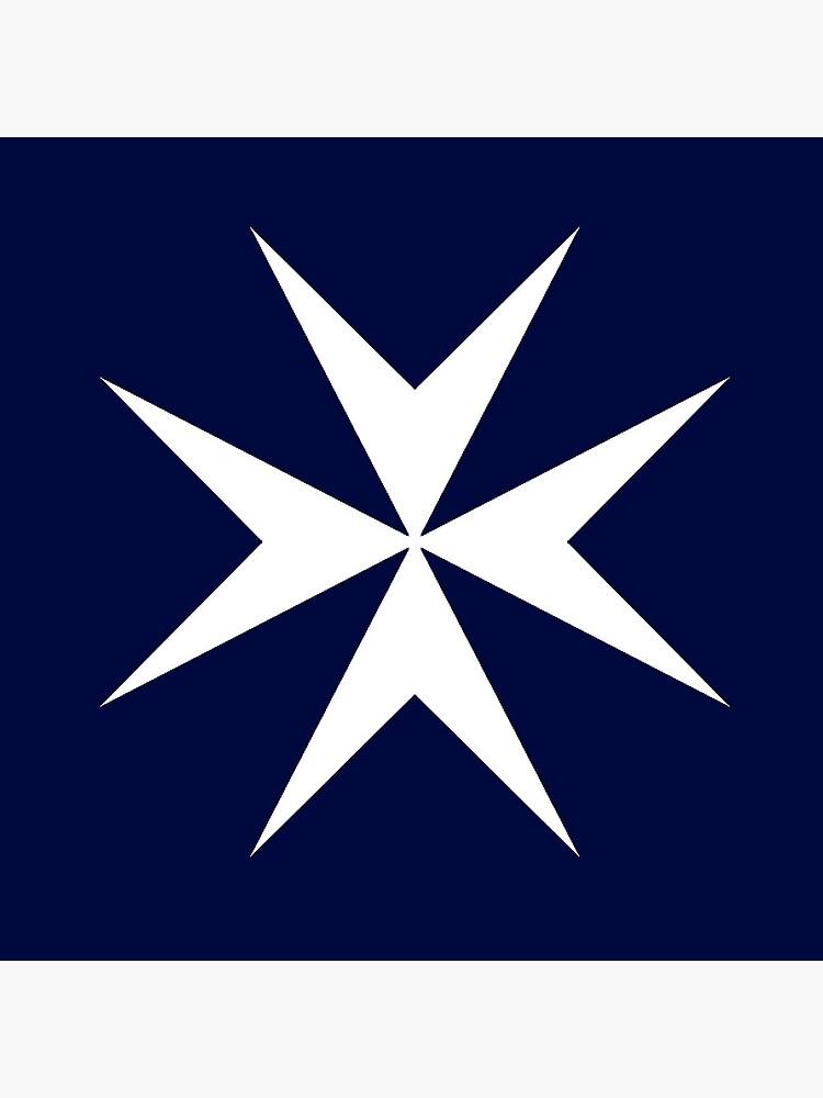 MALTA. Maltese, Amalfi Cross, Maltese cross, Knights Hospitaller, WHITE on NAVY BLUE. by TOMSREDBUBBLE