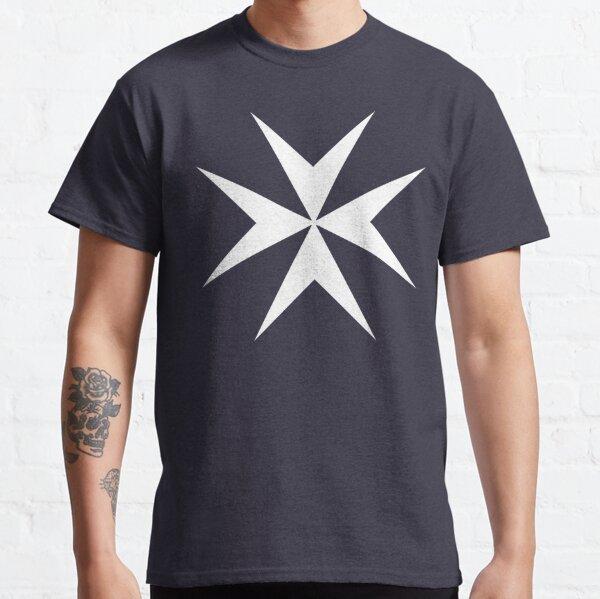 MALTA. Maltese, Amalfi Cross, Maltese cross, Knights Hospitaller, WHITE on NAVY BLUE. Classic T-Shirt