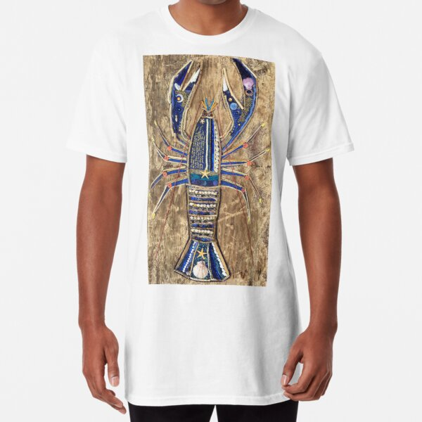 Lobster Mixed Media Collage print Long T-Shirt
