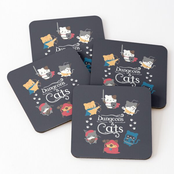 Dungeons and Cats Coasters (Set of 4)