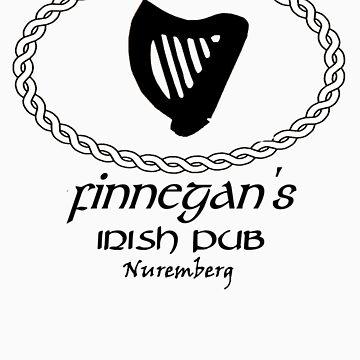 Finnegan's Irish Pub Nuremberg Oval Wappen B&W by FinnegansNbg