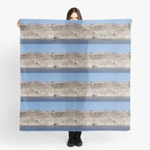 Grey and white cliff, sea and sky, Milos Scarf