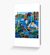 UNLOADING THE CATCH Greeting Card