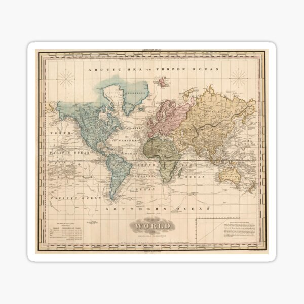 Vintage Map of The World (1823) 2 Sticker