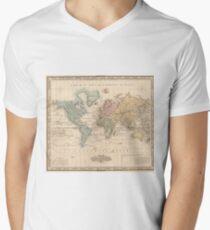 Vintage Map of The World (1823) 2 V-Neck T-Shirt