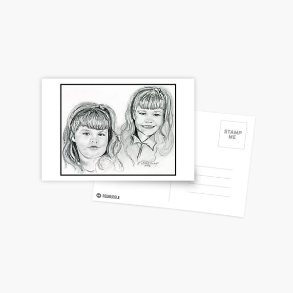 The Blevin's Girls Portrait Drawing Postcard
