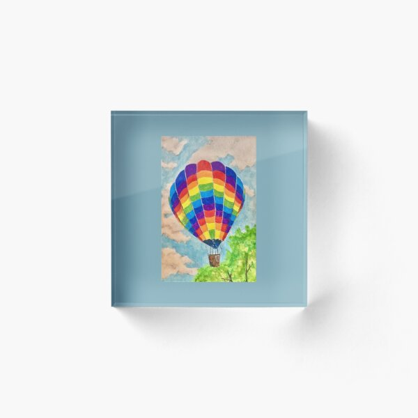 rainbow hot air balloon Acrylic Block