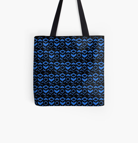 Blue flower pattern with black background All Over Print Tote Bag