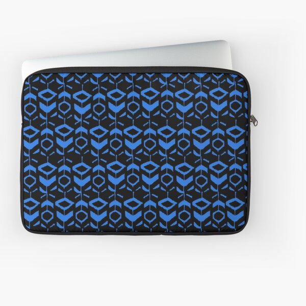 Blue flower pattern with black background Laptop Sleeve