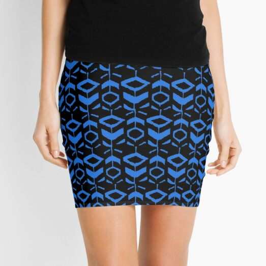 Blue flower pattern with black background Mini Skirt