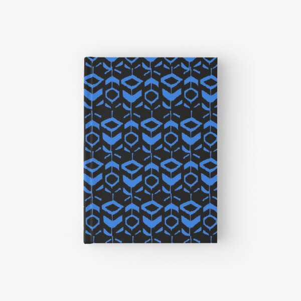 Blue flower pattern with black background Hardcover Journal