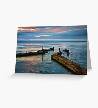 Whitby harbour at sunset Greeting Card