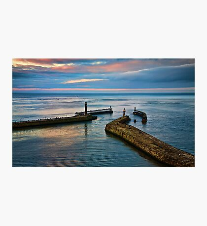 Whitby harbour at sunset Photographic Print